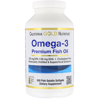 California Gold Nutrition, Omega-3, Premium Fish Oil, 240 Fish Gelatin Softgels
