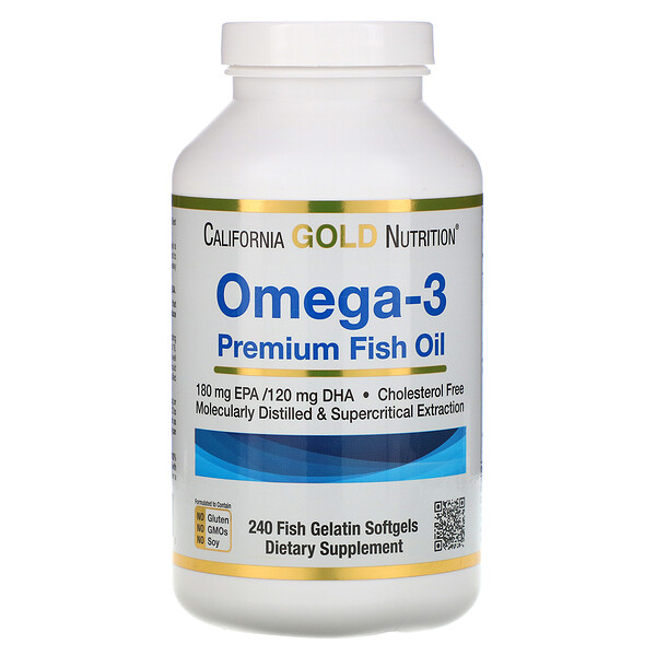 Omega-3, Premium Fish Oil, 240 Fish Gelatin Softgels