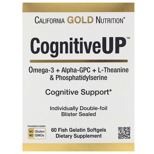 CognitiveUP, Omega 3, Alpha-GPC,Theanine and PS, 60 Fish Gelatin Softgels