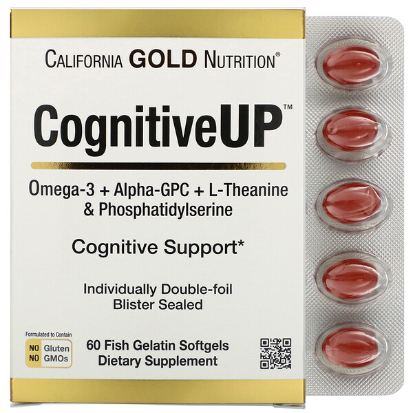 California Gold Nutrition, CognitiveUP, Omega 3, Alpha-GPC,Theanine and PS, 60 Fish Gelatin Softgels