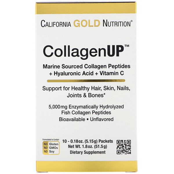 California Gold Nutrition, CollagenUp, Marine Hydrolyzed Collagen + Hyaluronic Acid + Vitamin C, Unflavored, 10 Packets, 0.18 oz (5.15 g) Each
