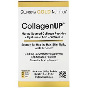 California Gold Nutrition, CollagenUp, Marine Hydrolyzed Collagen + Hyaluronic Acid + Vitamin C, Unflavored, 10 Packets, 0.18 oz (5.15 g) Each отзывы покупателей