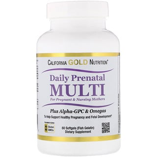 California Gold Nutrition, Prenatal Multi for Pregnant & Nursing Mothers, 60 Fish Gelatin Softgels
