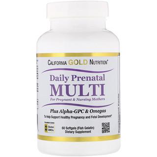 California Gold Nutrition, 妊娠中・授乳中のママのための産前マルチ、魚ゼラチンソフトジェル60粒