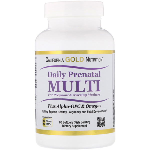 California Gold Nutrition, Suplemento multivitamínico prenatal para madres en período de embarazo y lactancia, 60cápsulas blandas con gelatina de pescado