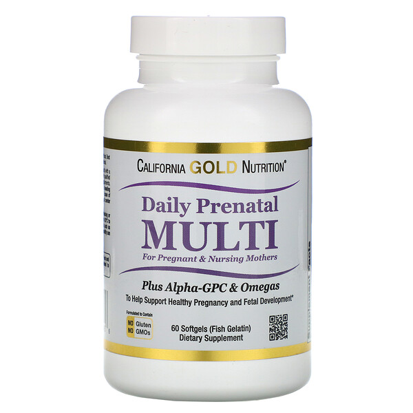 prenatal vitamins : California Gold Nutrition, Prenatal Multi for Pregnant & Nursing Mothers, 60 Fish Gelatin Softgels