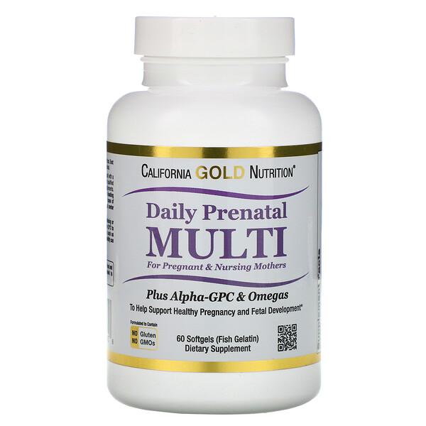 California Gold Nutrition, מולטי-ויטמין לנשים הרות ומניקות, 60 כמוסות רכות מג'לטין דגים