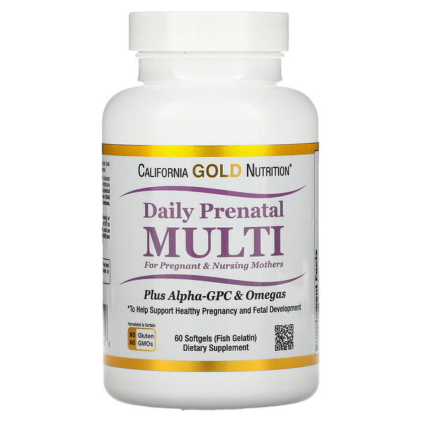 California Gold Nutrition, Daily Prenatal Multi for Pregnant & Nursing Mothers, 60 Fish Gelatin Softgels