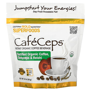 California Gold Nutrition, CafeCeps, Certified Organic Instant Coffee with Cordyceps and Reishi Mushroom Powder, 3.5 oz (100 g)