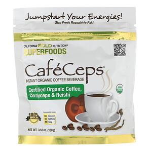 California Gold Nutrition, CafeCeps, Certified Organic Instant Coffee with Cordyceps and Reishi Mushroom Powder, 3.52 oz (100 g) отзывы покупателей