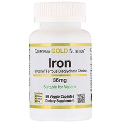 California Gold Nutrition, Железо Ferrochel (биглицинат), 36 мг, 90 растительных капсул