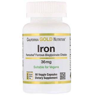 California Gold Nutrition, Ferrochel Iron (Bisglycinate), 36 mg, 90 Veggie Capsules