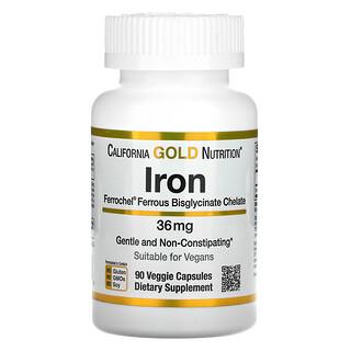 California Gold Nutrition, Ferrochel-Eisen (Bisglycinat), 36 mg, 90 pflanzliche Kapseln