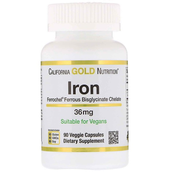 California Gold Nutrition, Железо Ferrochel (биглицинат), 36 мг, 90 растительных капсул