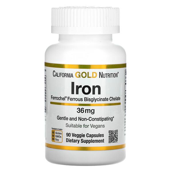 California Gold Nutrition, Ferrochel, железо (бисглицинат), 36мг, 90вегетарианских капсул