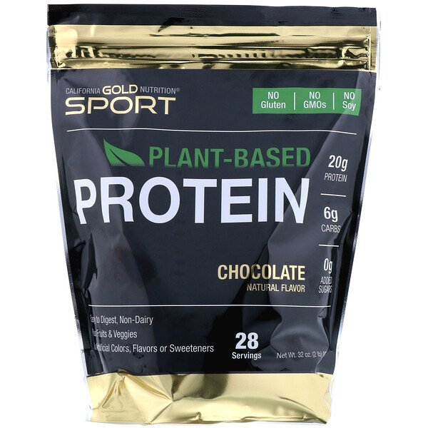 California Gold Nutrition, Chocolate Plant-Based Protein, Vegan, Easy to Digest, 2 lb (907 g)