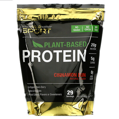 Купить California Gold Nutrition Растительный протеин со вкусом булочки с корицей, веганский, легко усваивается, 907г (2фунта)