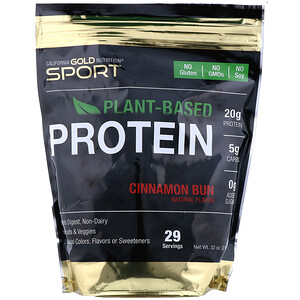 California Gold Nutrition, Cinnamon Bun Plant-Based Protein, Vegan, Easy to Digest, 2 lb (907 g)