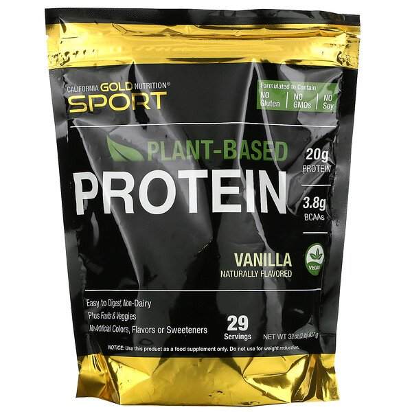 California Gold Nutrition, Vanilla Flavor Plant-Based Protein, Vegan, Easy to Digest, 2 lb (907 g)