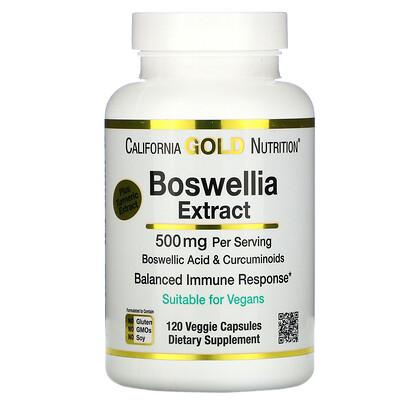 Купить California Gold Nutrition экстракт босвеллии с экстрактом куркумы, 250мг, 120вегетарианских капсул
