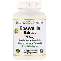 California Gold Nutrition, Boswellia Extract, Plus Turmeric Extract, 500 mg, 120 Veggie Capsules