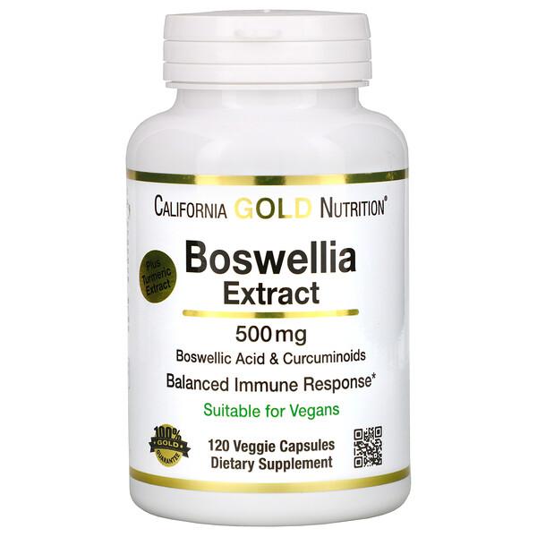 California Gold Nutrition, 보스웰라 추출물, 플러스 터머릭 추출물, 500 mg, 120 베지 캡슐
