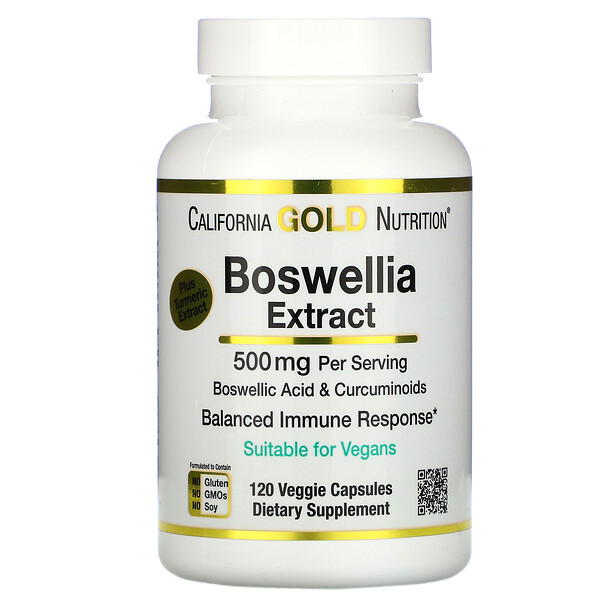 California Gold Nutrition, Boswellia Extract, Plus Turmeric Extract, 250 mg, 120 Veggie Capsules