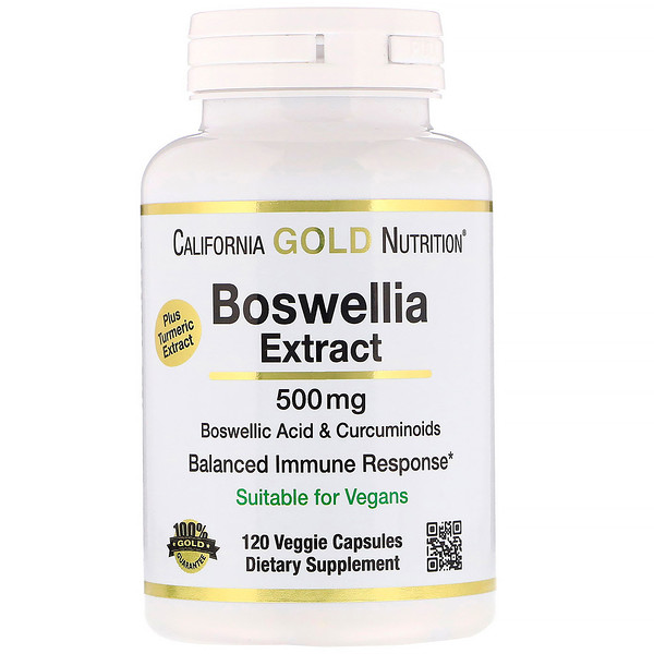 California Gold Nutrition, Extracto de Boswellia, Con Extracto de Cúrcuma, 500 mg, 120 cápsulas vegetales