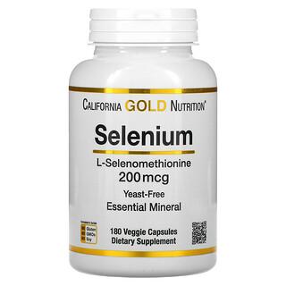 California Gold Nutrition, Selenium, Yeast-Free, 200 mcg, 180 Veggie Capsules