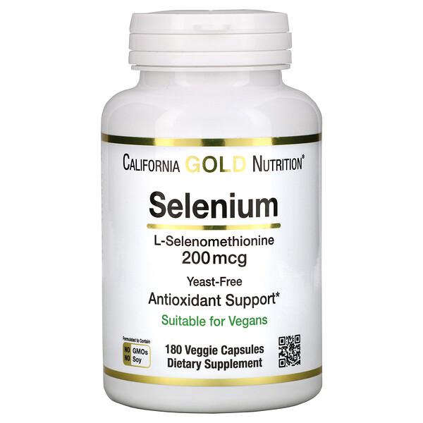 Selenium, Yeast-Free, 200 mcg, 180 Veggie Capsules