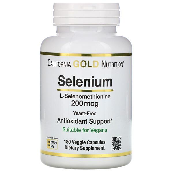 California Gold Nutrition, Selenio, Sin levadura, 200mcg, 180cápsulas vegetarianas