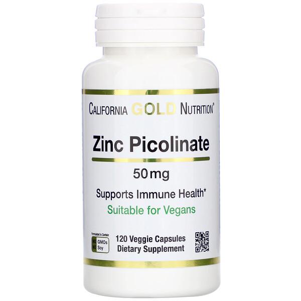 California Gold Nutrition, Picolinato de zinc, 50mg, 120 Cápsulas Vegetarianas
