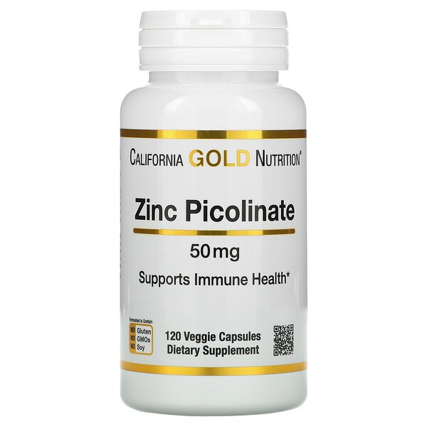 California Gold Nutrition, Picolinate de zinc, 50 mg, 120 capsules végétariennes