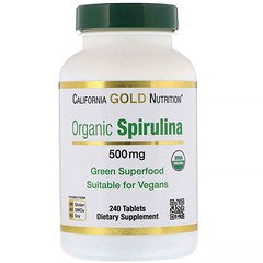 California Gold Nutrition, Organic Spirulina, 500 mg, 240 Tablets
