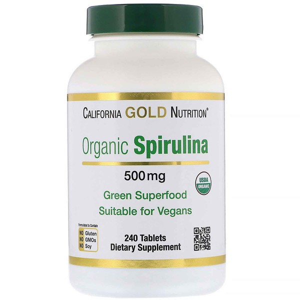 California Gold Nutrition, Spiruline bio, 500 mg, 240 comprimés