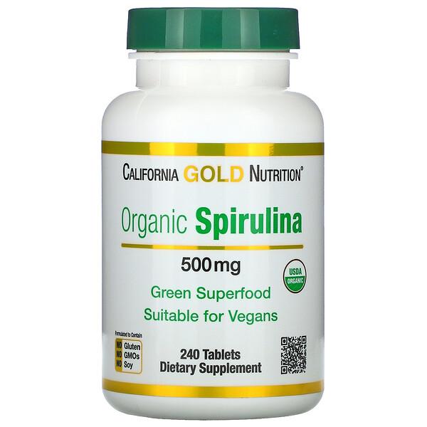 California Gold Nutrition, سبيرولينا عضوية، معتمد كمنتج عضوي من وزارة الزراعة الأمريكية، 500 ملجم، 240 قرص