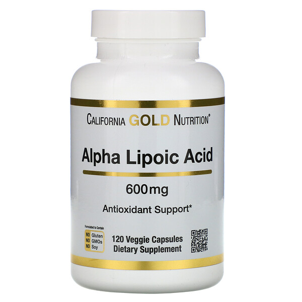 California Gold Nutrition, Alpha Lipoic Acid, 600 mg, 120 Veggie Capsules