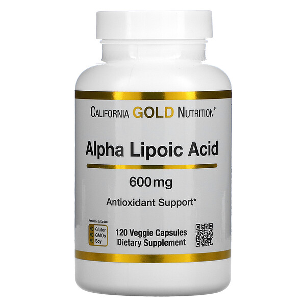 California Gold Nutrition, α 硫辛酸,600 毫克,120 粒素食膠囊