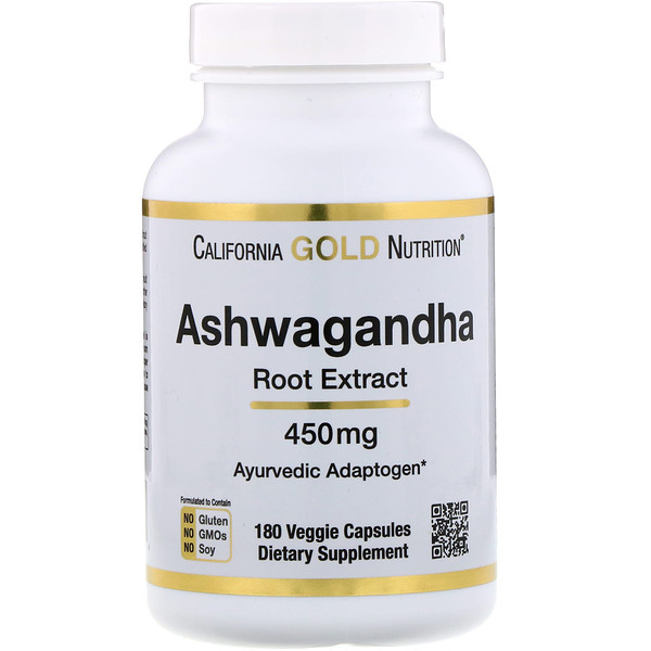 California Gold Nutrition, Ashwagandha Root Extract, 450 mg, 180 Veggie Capsules