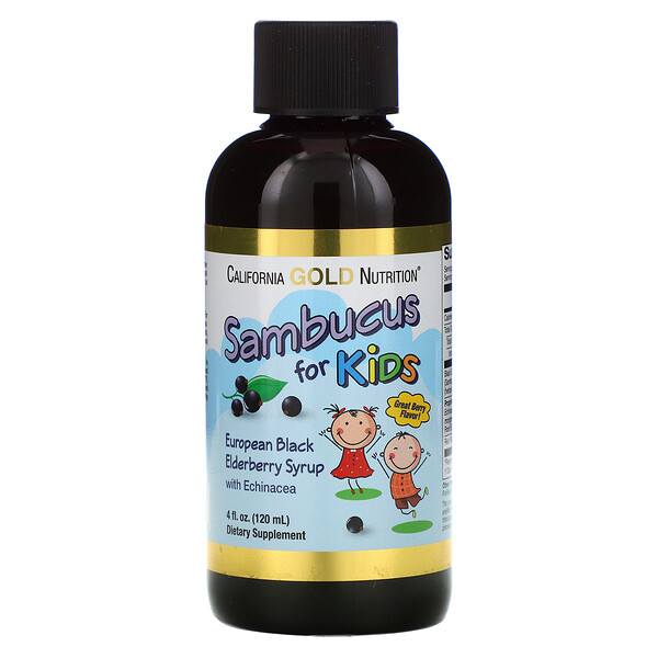 Sambucus for Kids, European Black Elderberry Syrup with Echinacea, 4 fl oz (120 ml)