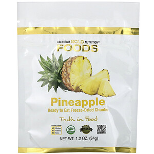 California Gold Nutrition, Freeze Dried Pineapple, Ready to Eat Whole Freeze-Dried Chunks, 1 oz (34 g) отзывы