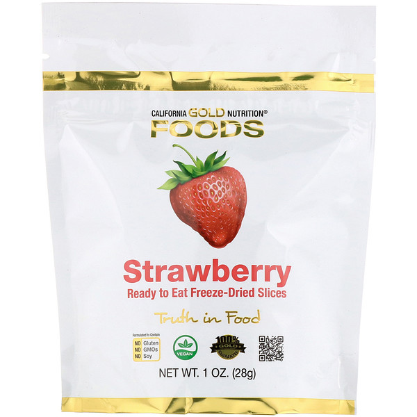 Freeze-Dried Strawberry, Ready to Eat Whole Freeze-Dried Slices, 1 oz (28 g)