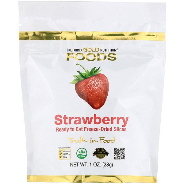California Gold Nutrition, Freeze-Dried Strawberry, Ready to Eat Whole Freeze-Dried Slices, 1 oz (28 g)