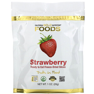 California Gold Nutrition, Freeze-Dried Strawberry, Ready to Eat Whole Freeze-Dried Slices, 1 oz (28 g) отзывы покупателей