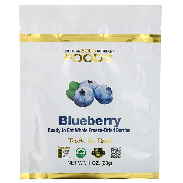 Freeze-Dried Blueberry, Ready to Eat Whole Freeze-Dried Berries, 1 oz (28 g)