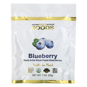 California Gold Nutrition, Freeze-Dried Blueberry, Ready to Eat Whole Freeze-Dried Berries, 1 oz (28 g) отзывы покупателей