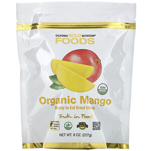 California Gold Nutrition, Organic Mango, Ready to Eat Dried Slices, 8 oz (227 g) отзывы покупателей