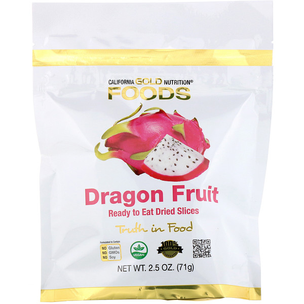 California Gold Nutrition, Fruit du dragon, Tranches prêtes à manger, 71 g