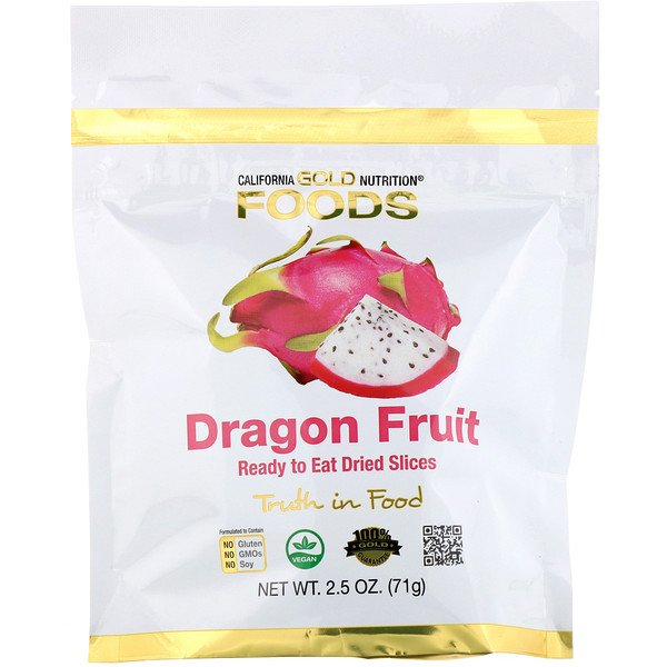 California Gold Nutrition, Dragon Fruit, Ready to Eat Dried Slices, 2.5 oz (71 g) (Discontinued Item)