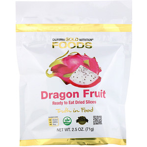 California Gold Nutrition, Dragon Fruit, Ready to Eat Dried Slices, 2.5 oz (71 g) отзывы покупателей